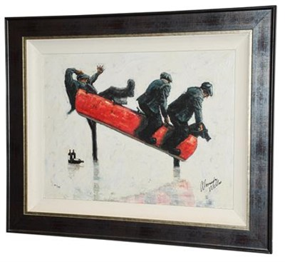 Lot 1059 - Alexander Millar (Contemporary) ''Cowboys'' Signed and numbered 95/195, giclee print on board, sold