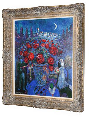 Lot 1064 - John Myatt After Marc Chagall ''Wedding Flowers'' Signed verso and numbered 31/75, giclee print...
