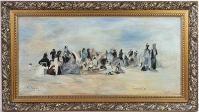 Lot 1065 - After Boudin (21st century) Tronville beach Signed E Boudin, oil on canvas, 30cm by 62cm...