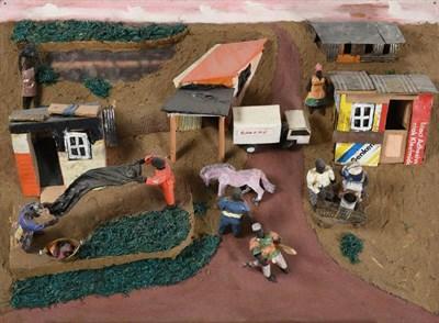 Lot 1067 - Jackson Nkumanda (b.1948) South African Daily life, township Signed, mixed media 3D model on board