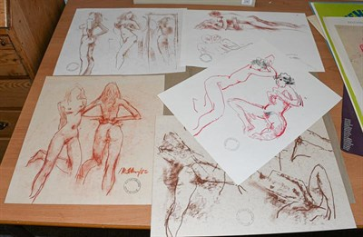 Lot 1071 - Peter Collins ARCA (b.1923) Study of two standing nudes Signed and dated (19)82, with studio...