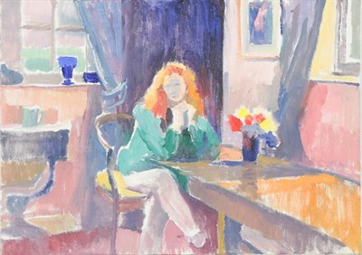 Lot 1077 - Franklin White (1892-1975) Australian  Woman with red hair seated in an interior Oil on board,...