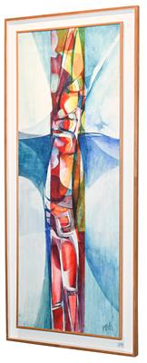 Lot 1078 - Peter M Hicks (b.1937) Abstract Signed, acrylic on board, 121cm by 45cm  Artist's Resale...