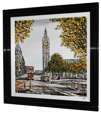 Lot 1080 - Nigel Cooke (b.1960) View of Westminster with Big Ben Signed, acrylic on board, 75cm by 75cm...