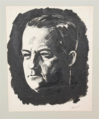 Lot 1081 - Jacob Kramer (1892-1962)  Head study of George Hopkinson Signed, pen and ink, 42cm by 33cm...