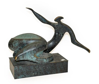 Lot 1084 - Contemporary School Reclining figure Patinated metal, 39cm high  Artist's Resale Rights/Droit...