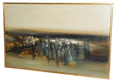 Lot 1096 - Kit Barker (1916-1988) ''Waldensee Polder'' Signed, inscribed verso, oil on canvas, 56cm by...