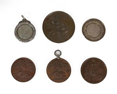 Lot 8 - A Collection of Six 19th Century Horticultural Medals, comprising:- two bronze Royal Botanical...