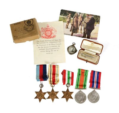 Lot 16 - A Second World War Group of Five Medals, comprising 1939-45 Star, Africa Star, Italy Star,...