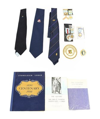 Lot 21 - A Quantity of Masonic Regalia, including a Craft Worshipful Master apron, gloves, collar and jewel