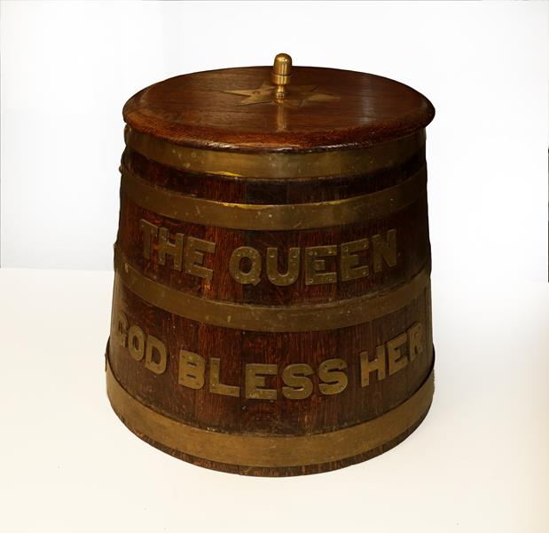 Lot 28 - An Elizabeth II Staved Oak Rum Barrel, of tapering cylindrical form, bound with four brass...