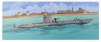 Lot 29 - David L Marshall, The Bismark and HMS Upshot, at sea, acrylic on canvas, signed, a pair, 41cm...