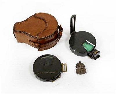 Lot 31 - A Service Pattern Clinometer and Magnetic Green Card Compass, each with bronzed brass casing,...