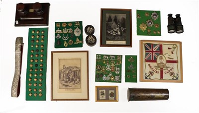Lot 40 - A Quantity of Militaria, including four small display boards of cap and collar badges and...