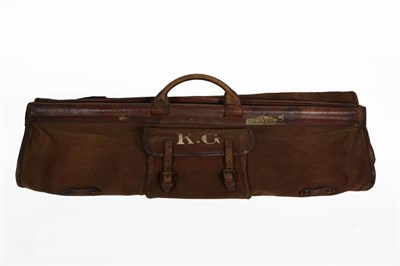 Lot 41 - An Early 20th Century Military Officer's Suit Carrier, in brown canvas trimmed with crushed...