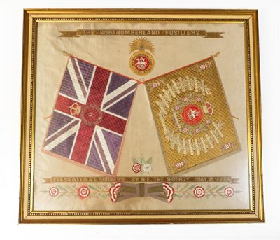 Lot 42 - A First World War Embroidered Silk Panel to the Northumberland Fusiliers, worked in couching...