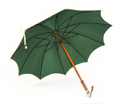 Lot 47 - A George V Colonial Parasol to the Royal Engineers, with cream cotton outer canopy and bottle green