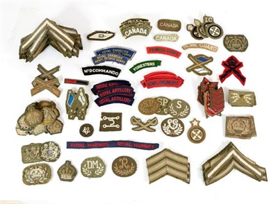 Lot 55 - A Quantity of Mainly Second World War British Army Insignia, including rank and trade badges,...