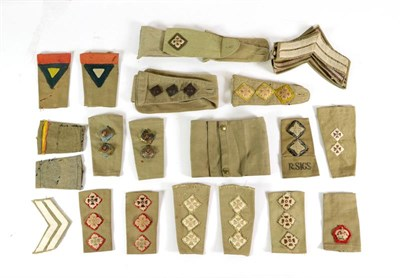 Lot 56 - A Small Quantity of Mainly Second World War British Army Khaki Drill Insignia, including rank...