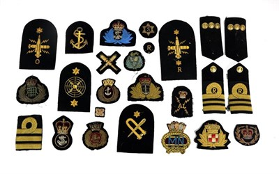 Lot 58 - A Quantity of Second World War Royal Navy Insignia, including rank badges, cap talleys, ratings...