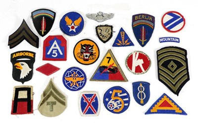 Lot 63 - A Collection of Twenty Seven Second World War US Cloth Formation and Rank Badges, including...