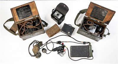 Lot 68 - A Quantity of Militaria, including two Field Telephone Sets F - one dated 1940, the other dated...