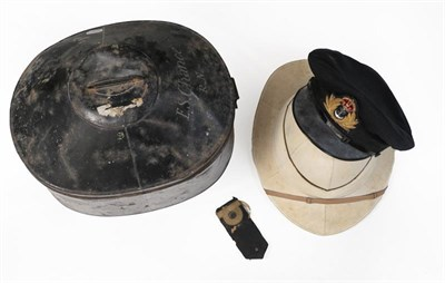 Lot 71 - A Second World War Royal Navy Officer's Wolseley Style Pith Helmet, in white with six panels to the