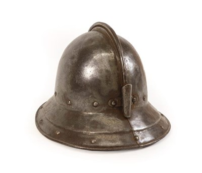 Lot 74 - A Mid-17th Century English Pikeman's Pot Helmet, circa 1640, possibly an Officer's, of thick...