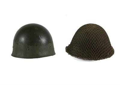 Lot 75 - A Second World War British Mark III Steel ''Turtle'' Combat Helmet, with original dark green...