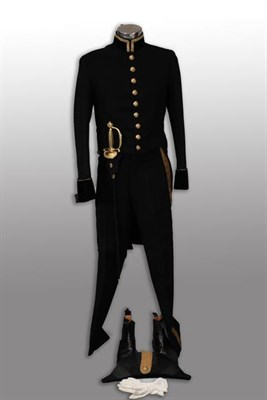 Lot 80 - An Elizabeth II Court Dress Uniform, comprising a black wool tail coat with velvet cuffs and...