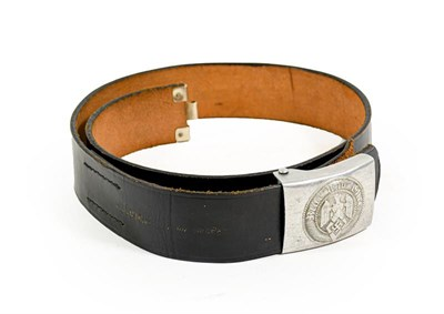 Lot 85 - A German Third Reich Hitler Youth Belt and Buckle, the black leather belt with faint date...