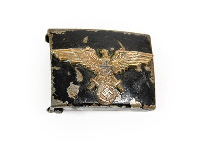 Lot 87 - A German Third Reich Heer EM's Steel Buckle, later painted black and set with an NS-RKB white metal