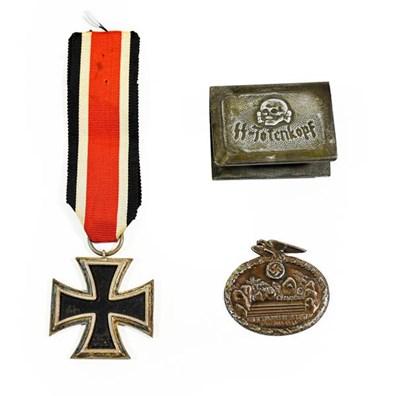 Lot 88 - A German Third Iron Cross, second class, with ribbon; also, a ''Trench Art'' matchbox holder...