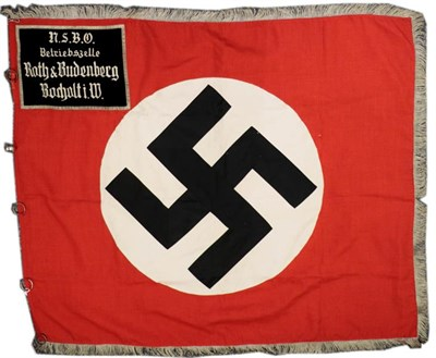 Lot 90 - A German Third Reich NSBO Standarte, constructed in double sided scarlet linen, each side...