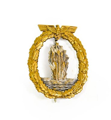Lot 92 - A German Third Reich Minesweepers Badge, in gilt metal with silver plated centre panel the...