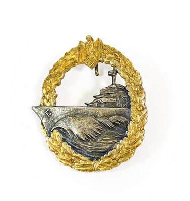Lot 93 - A German Third Reich Destroyers War Badge, First Pattern, in gilt metal with silver plated...