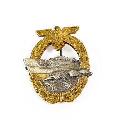 Lot 94 - A German Third Reich E-Boat Badge, Second Pattern, in gilt metal with silver plated centre, the...