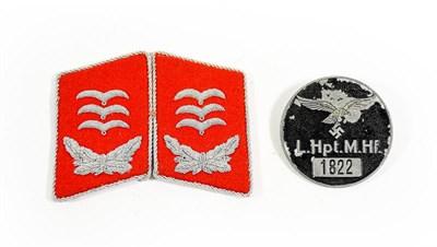 Lot 96 - A Pair of German Third Reich Luftwaffe Flak Artillery Hauptmann's Collar Tabs, in red wool...