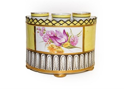 Lot 1 - Three early 19th century pearlware yellow ground bough pots, with gilt edging and enamelled...