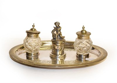 Lot 4 - A silver plated inkwell desk stand, presentation inscription ''Presented to James Powell Esq,...