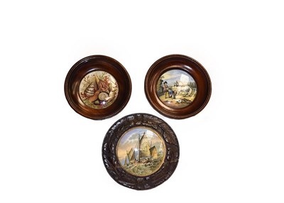 Lot 10 - A quantity of 19th century Prattware pot lids, some framed (one tray)