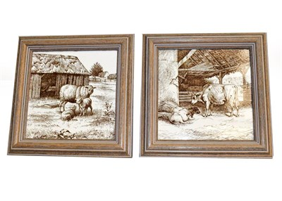 Lot 11 - A set of six framed 6'' tiles, designed by William Wise, Country Animals