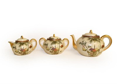 Lot 14 - A Japanese bamboo decorated floral gilt part tea service, comprising teapot, sucrier, milk jug,...