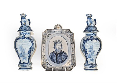 Lot 24 - A quantity of 19th century and later Delft and Faience, including a pair of blue and white jars and