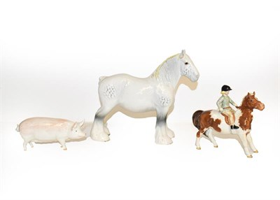 Lot 33 - Beswick comprising Girl on Pony, model No. 1499, skewbald gloss, Sow Ch. ''Wall Queen 40th'', model