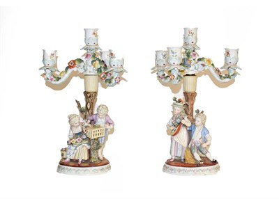 Lot 35 - A tray of 19th century English and Continental porcelain figures including a pair of Dresden...