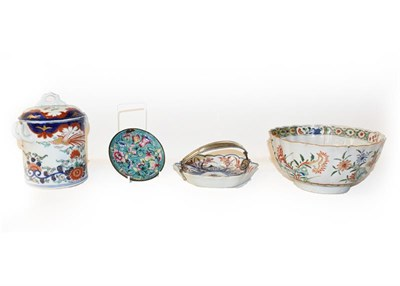 Lot 40 - A quantity of mainly Chinese porcelain including a Kangxi fluted bowl painted in the famille...