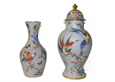 Lot 42 - A late 20th century Limoges large baluster vase and cover, grey ground and enamelled with...