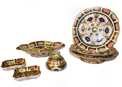 Lot 57 - A quantity of Royal Crown Derby Imari, including a quatrefoil twin handled dish, a pair of...