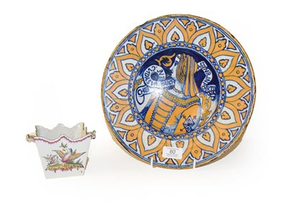 Lot 60 - A Maiolica Bella Donna dish in 16th century Deruta style, painted in blue and ochre with a bust...